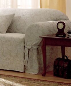 Sure Fit Loveseat Slipcover Damask Scroll CHAMPAGNE 378