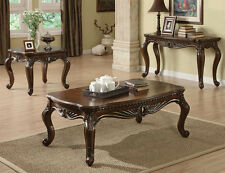 NEW 3PC REMINGTON TRADITIONAL BROWN CHERRY FINISH WOOD COFFEE END TABLE SET