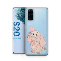 Samsung S20 Plus Handy Hülle Silikon Schutzhülle Case Etui Motiv Rosa Elefant