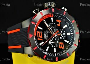 ➤Invicta Men's 53mm S1 Rally TURBO Quartz Chronograph Black & Red Silicone Watch