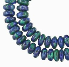 "16"" Azurite Malachite Rondelle Roundel Beads 6mm #57010"