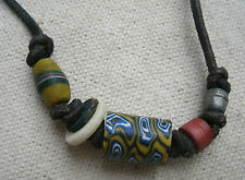Multi-color Fimo & Bone Bead Necklace for men or women,from Guatemala -tribal