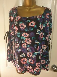 V By Very Black Floral Top  Size 12 Uk VGC