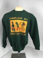 Vtg 80s Harlem New York USA Tribal Crewneck Sweatshirt Sz L Green L/S Pullover
