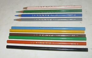 1960s VENUS PARADISE LOT OF 10 COLORED PENCILS 6 NEVER SHARPENED GREAT LOT