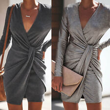 Womens V Neck Evening Party Club Metallic Mini Knitted Jumper Wrap Bodycon Dress