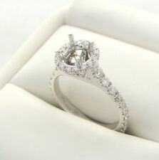DIAMOND SEMI MOUNT ENGAGEMENT RING 18K HALO MOUNTING MICHAEL M REDUCED