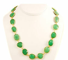 Green Chrysoprase Necklace Chalcedony 14k gold fill chain X Large Bezel 24 ""