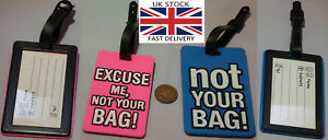 Luggage Tags soft plastic with info panel 2 colours funny-UK STOCK-FREE P&P