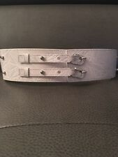 Belt By SWAROVSKI $298 Auth White Embossed Wide Leather Crystal Belt S/M