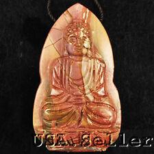 Unusual! Natural Picasso Jasper Carved Buddha Pendant Bead
