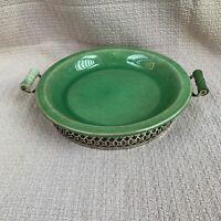 Thompson Pottery Vintage Heirloom Jade Pie Plate with Metal Holder