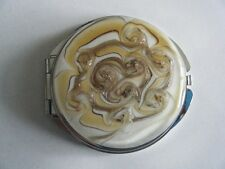 Murano Art Glass Mirror Compact Round Gold Brown White On Silver Tone Frame New