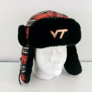 Virginia Tech Bomber Hat VT Plaid Adult Top of the World Aviator Flap Hat Winte