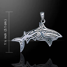 Aboriginal Shark .925 Sterling Silver Pendant by Peter Stone