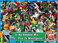 Lego 1Kg - Of Random Mixed Assorted Genuine Bricks - Plus 2x Minifigures!