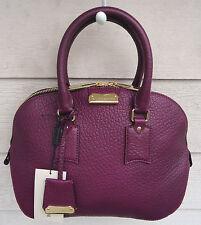 NEW $1495 Burberry Small Orchard Satchel Leather Purple Damson Magenta Crossbody