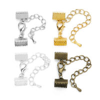 10pcs Gold Ribbon Leather Cord End Fastener Clasps Jewelry Findings Connectors