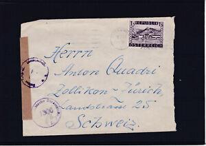 Portorichtige Einzelfrankatur ANK 859 auf zensuriertem Brief Baden - Schweiz