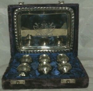 Nice Vintage box with 6 kiddush cups and plate made from nikel