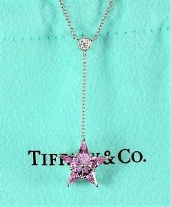 Tiffany & Co Platinum Round Diamond Pink Sapphire Star Pendant 16.5'' Necklace