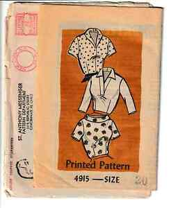 Vintage 1950s Blouse In Tree Versions V-Neck Boat-Neck Size 20 Sewing Pattern