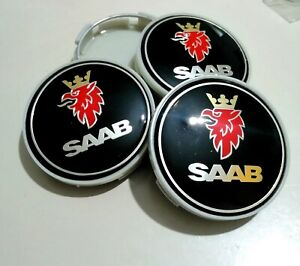 SAAB CENTRE HUB CAPS BLACK STYLE  ALLOY WHEELS x 4 SET 63mm 9-3 93 95 900 9-5