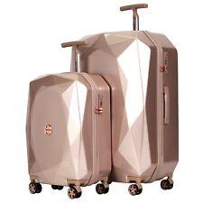 kensie Women's 2 Piece Shiny Diamond Luggage Set, ROSEGOLD TSA SPINNER