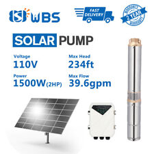"4"" WBS DC Solar Pump 110V 2HP 40GPM Water Bore Hole Submersible Agriculture Farm"
