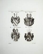 1816 Adelige von Nasen Nesen Nettelhorst Nossau 4 Kupferstich-Wappen Tyroff