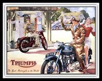 TRIUMPH MOTORCYCLE MOTORBIKE BIKER MAN CAVE WORKSHOP METAL SIGN TIN PLAQUE 1360