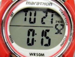 Timex Marathon Red Digital Indiglo WR 50m Black Day Date New Battery Woman Watch