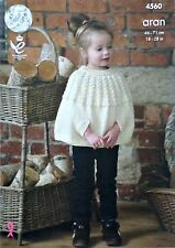 KNITTING PATTERN Girls Round Neck Cable Poncho/Cape Aran King Cole 4560
