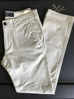 NWT Abercrombie & Fitch By Hollister Mens Skinny Chino Khaki Pants Size 28-36