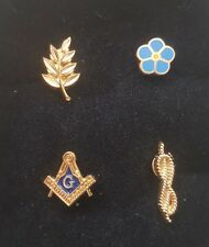 Masonic Lapel Pin Square   Compass Sprig of Acacia Cable Tow Forget Me Not  Set f01fc70328a8