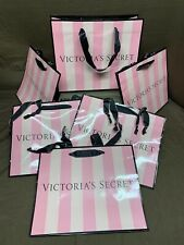 VICTORIAS SECRET Lot Of 6 PINK STRIPED Coated Shopping Gift Bag Med. Size 11x9x5