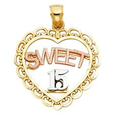 Heart 14k Solid Gold Tri Tone Colored Sweet 15 Quinceanera Charm 22mm Pendant