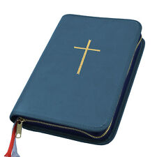 Großdruck Gotteslob Hülle Gotteslobhülle Leder blau mit Kreuz in gold Gebetbuch
