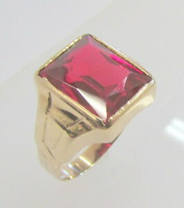 10K YELLOW GOLD EMERALD CUT SYNTHETIC RUBY MENS RING SIZE 7.5 ~ 4.9 g
