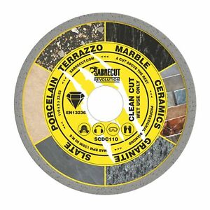 SabreCut 110mm Continuous Rim Disc Diamond Blade for Grinders and Tile Cutters