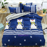 Single/Double/Queen/King Size Bed Quilt Doona Duvet Cover Set Cat Striped Blue