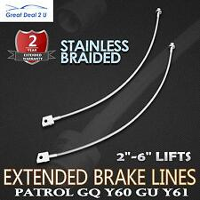"For Nissan 2-6"" Extended Stainless Braided Brake Lines Patrol GQ Y60 GU Y61 Lift"