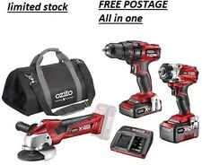 OZITO 18V CORDLESS COMBO KIT 18V X2 LITHIUM BATTERYS FAST CHARGER COMPLETE KIT