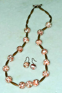 """Artisan Rose Beads and Copper 24"""" Necklace and Drop Dangle Earrings"""