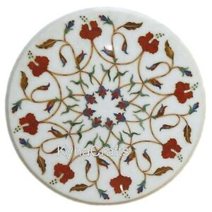 Decent Pattern Coffee Table Top White Round Marble Corner Table for Home 15 Inch