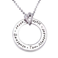 Personalised Stainless Steel Family Name Heart Necklace Valentine's Gift D209