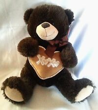 Teddy Bear Plush Dark Brown Silver Trim Heart Dan Dee Love Romance 15""