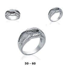 Bague Rhodié T54 Entrelaçés Pavé Diamant Black & White Argent 925 Dolly-Bijoux