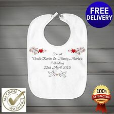Fully Personalised Wedding Day Baby Bib Gift or Favour.