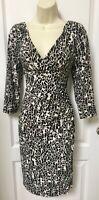 Ralph Lauren Size 14P 14 Petite Woman's Black White Ruched Sheath Wrap Dress